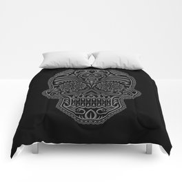 Intricate Gray and Black Day of the Dead Sugar Skull Comforters