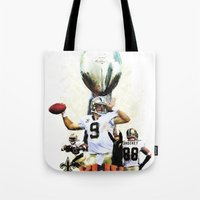 nfl Tote Bags featuring Super New Orleans Saints NFL Football by jBowen