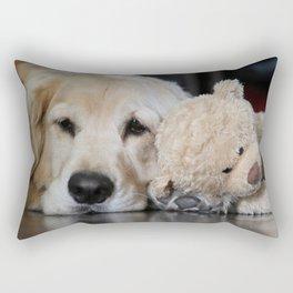 Golden Retriever with Best Friend Rectangular Pillow