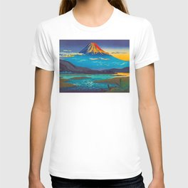 Tsuchiya Koitsu Tokaido Fujikawa Japanese Woodblock Print Sunset Colorful Hues Mountain Landscape T-shirt