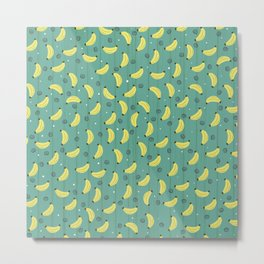 Completely Bananas with Dots and Swirls Pattern Metal Print