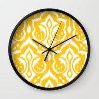 damask Wall Clocks featuring Ikat Damask by Patty Sloniger