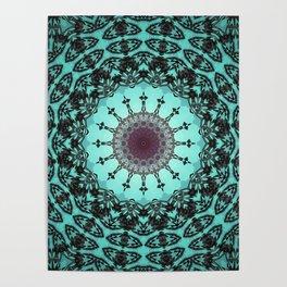 Bright Teal Black Bohemian Mandala Poster