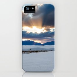 One More Moment - Sunbeams Burst From Clouds Over White Sands New Mexico iPhone Case