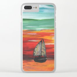 Sailboat at Sea During Sunrise Clear iPhone Case
