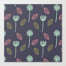 Hand drawn Floral leaves illustration pattern design dark blue Canvas Print