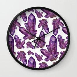 Amethyst Birthstone Watercolor Illustration Wall Clock