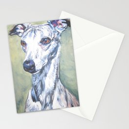 Whippet dog portrait art from an original painting by L.A.Shepard Stationery Cards