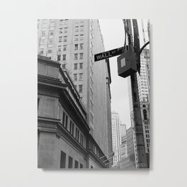 Black and White Wall Street in NYC Metal Print