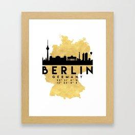 BERLIN GERMANY SILHOUETTE SKYLINE MAP ART Framed Art Print