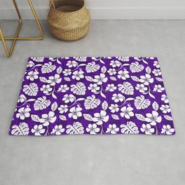 Dark Purple & White Hibiscus Aloha Hawaiian Flower Blooms and Tropical Banana Leaves Pattern Rug