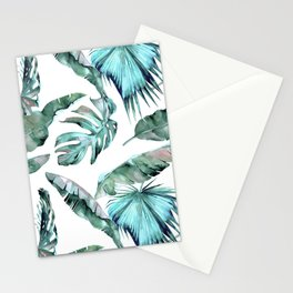 Tropical Palm Leaves Blue Green on White Stationery Cards