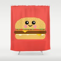 hamburger Shower Curtains featuring Happy Pixel Hamburger by Mouki K. Butt