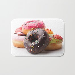 Group of glazed donuts, isolated on white background Bath Mat