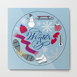 Winter Wonderland Fun Metal Print