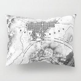 Vintage Map of The Gettysburg Battlefield (1863)BW Pillow Sham