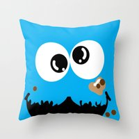 cookie monster Throw Pillows featuring Cookie Monster  by Lyre Aloise