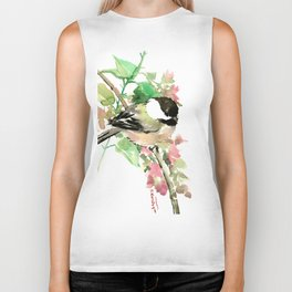 Chickadee and spring blossom Biker Tank