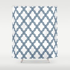 Navy Moroccan Shower Curtain