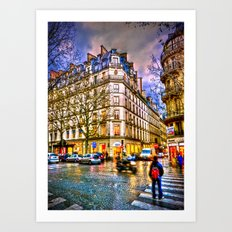 Rainy evening in Paris, France Art Print