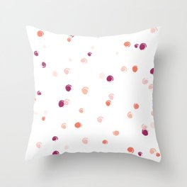 Coral and Purple Dots Throw Pillow