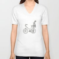 bicycle V-neck T-shirts featuring Bicycle by Madmi