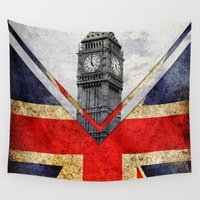uk Wall Tapestries featuring Flags - UK by Ale Ibanez