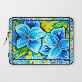 Blue Poppies 3 with Border Laptop Sleeve