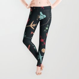 Black Airplane and Aviation Pattern Leggings