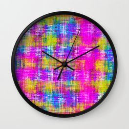 plaid pattern painting texture abstract background in pink purple blue yellow Wall Clock