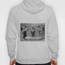What the girls drink when the guys aren't looking - three girlfriends drinking at the beach black and white photograph Hoody