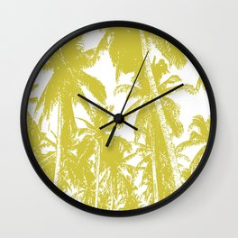 Palm Trees Design in Gold and White Wall Clock