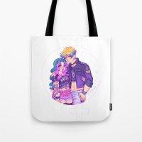 pastel goth Tote Bags featuring Pastel Goth Haruka & Michiru by Gunkiss