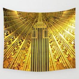 Empire State Building Lobby Art-Deco Sunburst Portrait Wall Tapestry