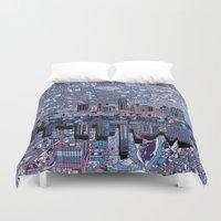 austin Duvet Covers featuring austin texas city skyline by Bekim ART