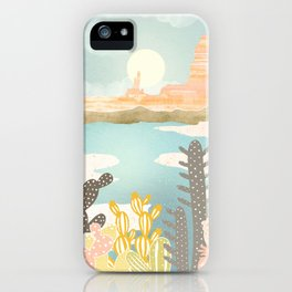 Retro Desert Oasis iPhone Case