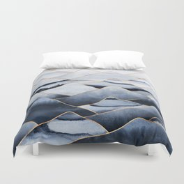 Mountains 2 - Gold Colored Lines Duvet Cover
