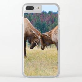 Bull elk in the rut season in Jasper National Park Clear iPhone Case