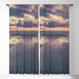 Stormy Beach Sunset Blackout Curtain