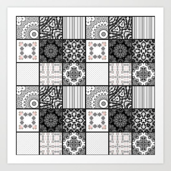 Patchwork . Squares of black, gray Patterns . Art Print