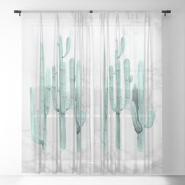 Cactus Trio on Marble Turquoise by Nature Magick Sheer Curtain