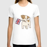 jack russell T-shirts featuring Jack Russell Terrier and Union Jack Illustration by Li Kim Goh
