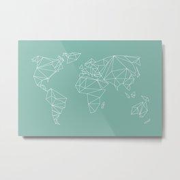 geometrical world map mint Metal Print