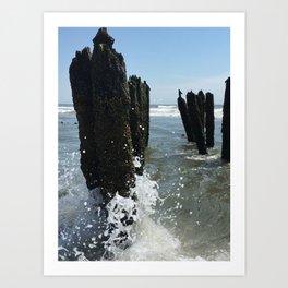 Ocean waves crash Art Print