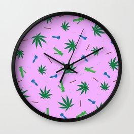 Cannabis & Paraphernalia Pattern Wall Clock