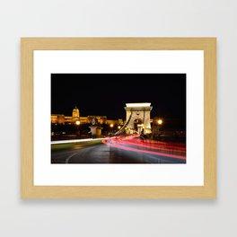 Traffic on Szechenyi Chain bridge Framed Art Print