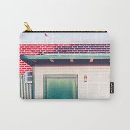 green wood building with brick building in the city Carry-All Pouch