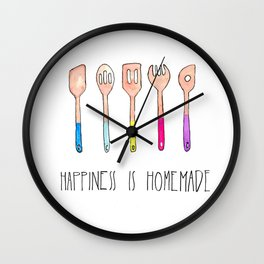 Spoons - Happiness is Homemade, Kitchenart, homecooks, chefart Wall Clock