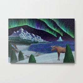 Northern Lights Over Snowscape Metal Print