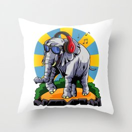 Hipster Elephant   Cool Glasses Headphones Swag Throw Pillow